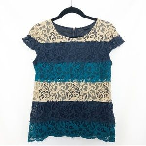 Ann Taylor Cap Sleeve Lace Top